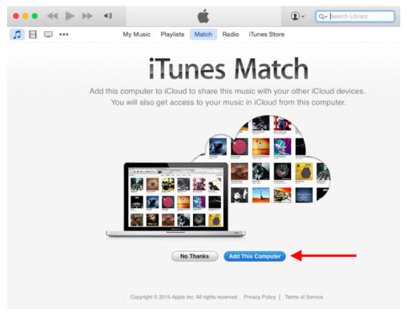 add computer to itunes match