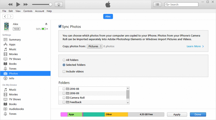 backup pictures using iTunes