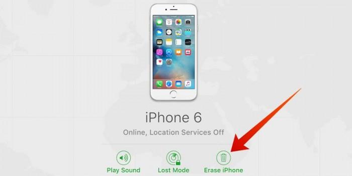 erase iphone on icloud com