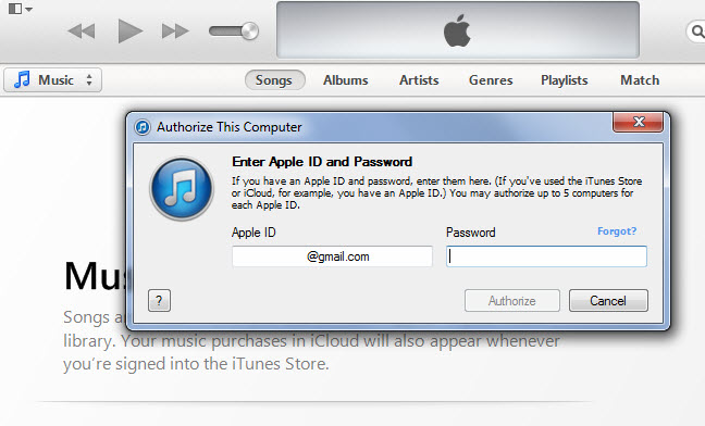 itunes authorise computer