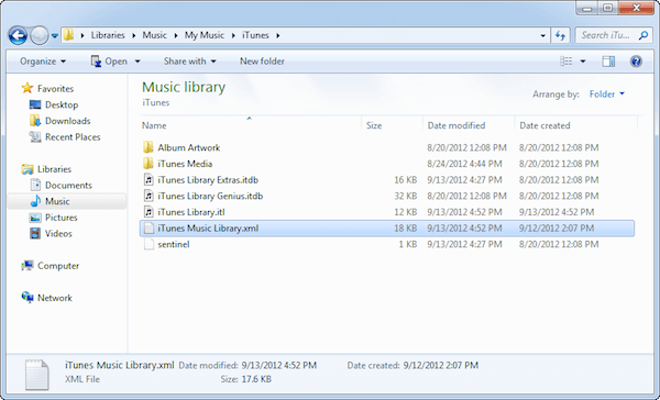 iTunes Library Location in Windows