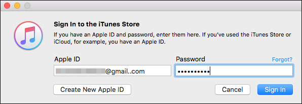 sign in iTunes