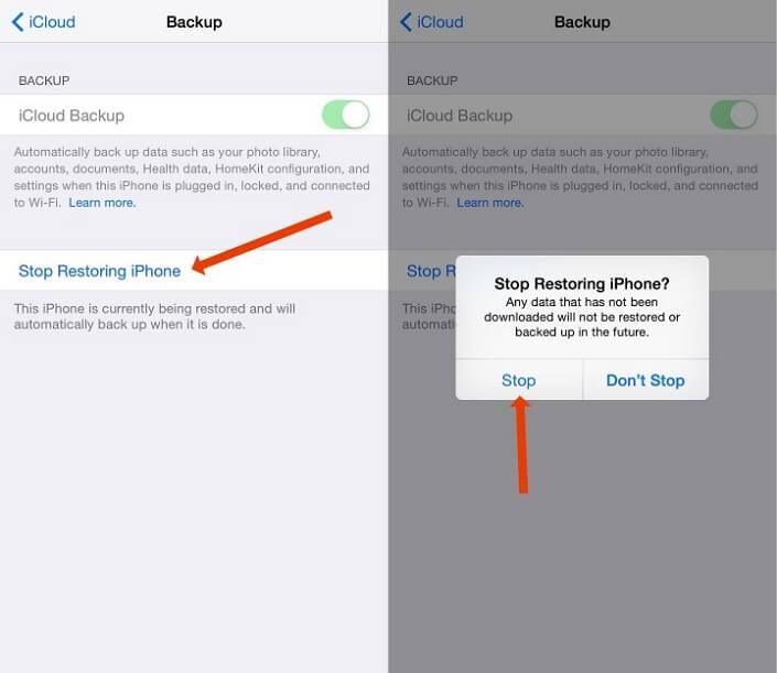 Stop an iCloud Restore