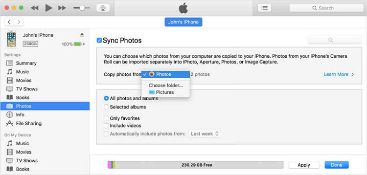ارفاق الصور للايفون باستخدام الاي تونز