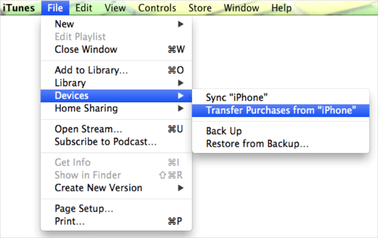 transfer purchases from iphone to pc