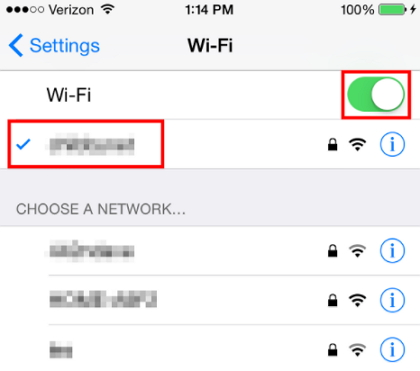 wifi in settings
