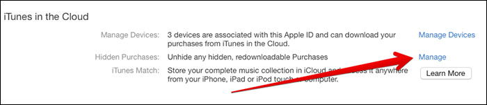 Click on Manage in Hidden Purchases in iTunes on Mac