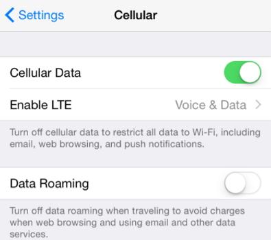Confirm cellular service