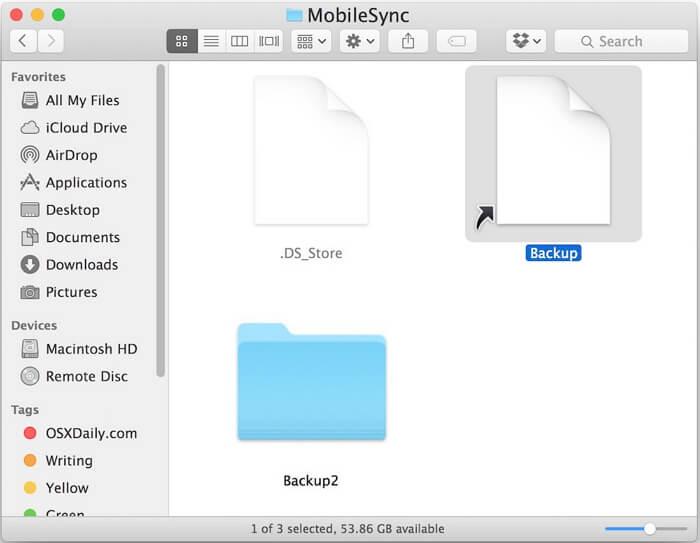 backup folder becomes generic file