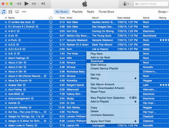 Download Music from iTunes