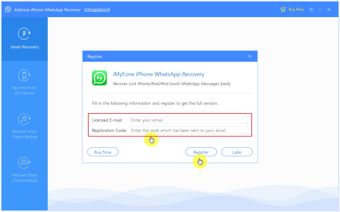 register iMyFone iMyFone iPhone WhatsApp Recovery 2