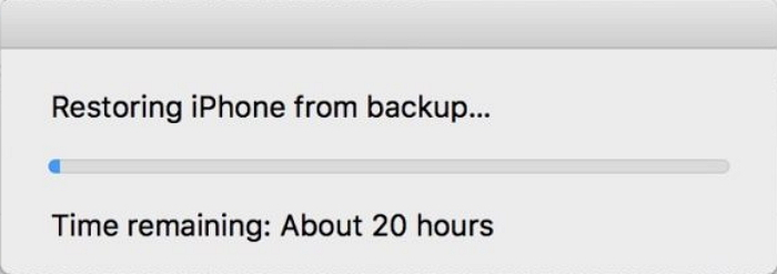 restoring iphone from backup takes too long
