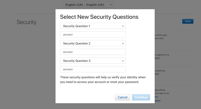 create security questions