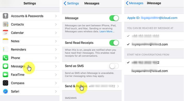 """Send & Receive."" settings"