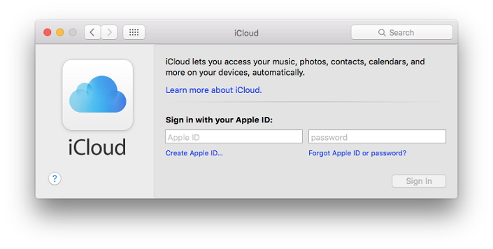 Sign into iCloud on mac
