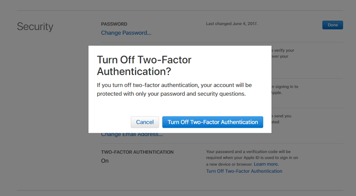 click on the Turn Off Two-Factor Authentication