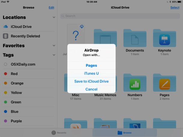 recevoir les fichiers AirDrop