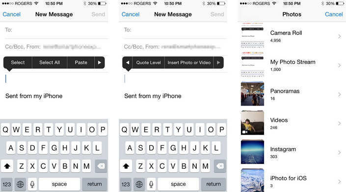 insert photos and videos in iPhone email