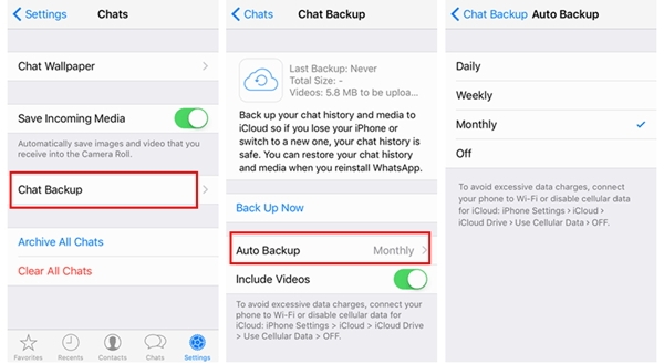 WhatsApp aotu backup