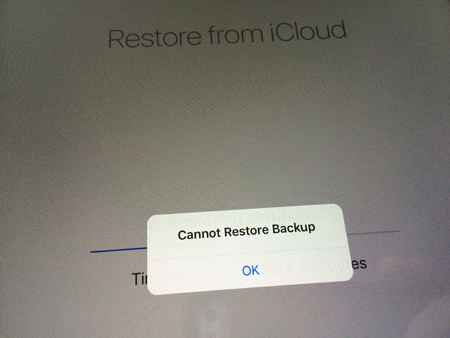 cannot restore icloud backup