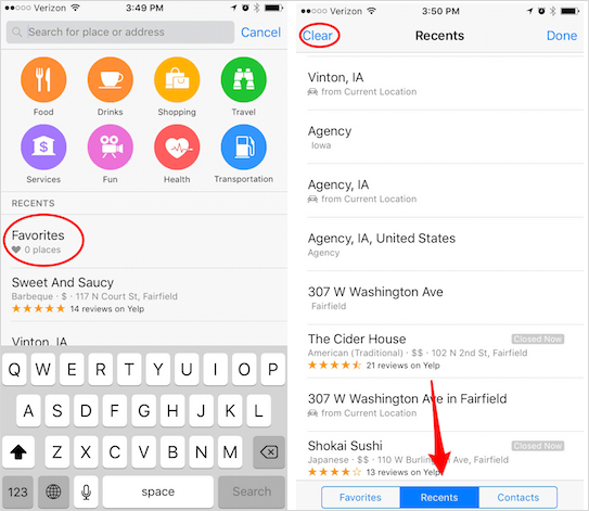 delete recent apps