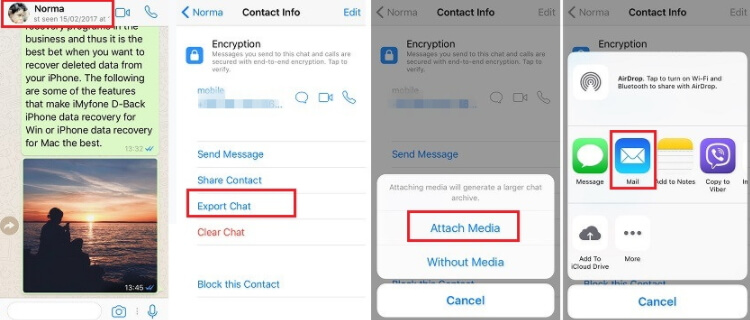 email WhatsApp chats