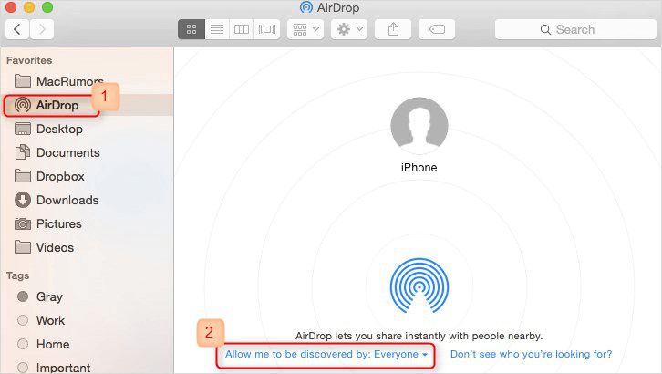 turn on Airdrop on Mac
