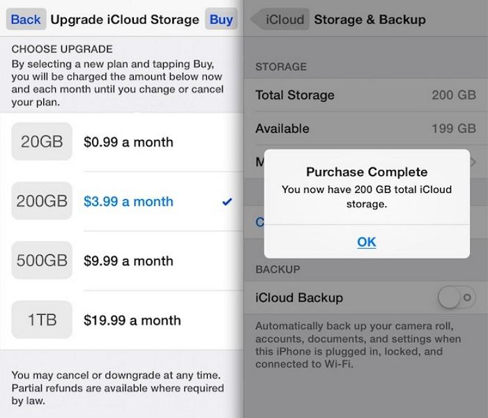 upgrade iCloud storage
