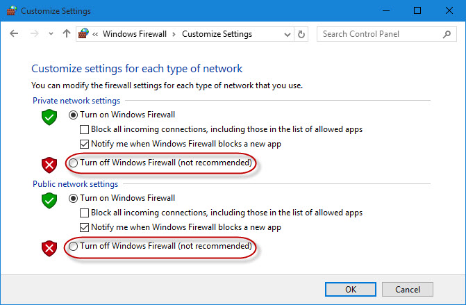 Turn Windows Firewall off