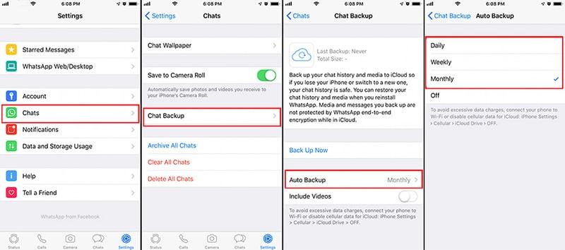 change whatsapp auto backup frequency iphone