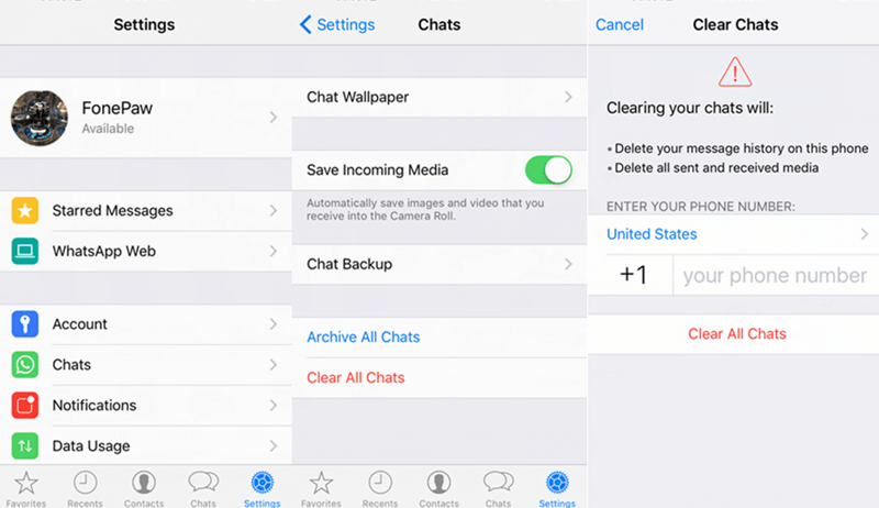 delete WhatsApp chat history