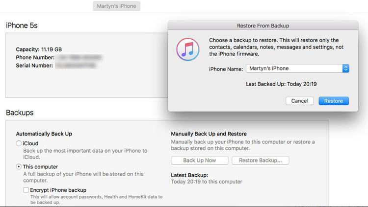 choose itunes backup