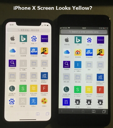 iPhone X screen is yellow