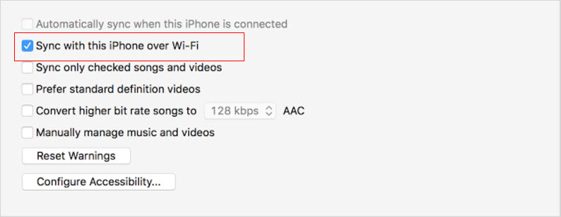 sync with this iphone over wifi