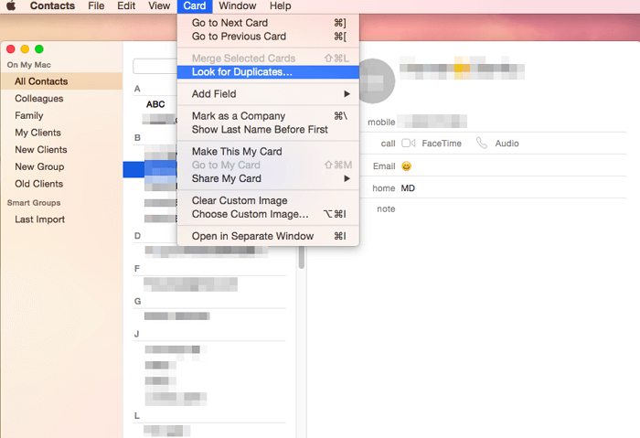duplicate contacts on mac