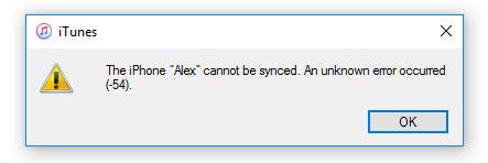 iTunes error -54