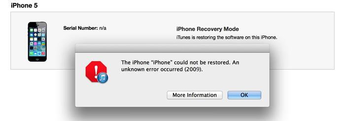 iTunes error 2009