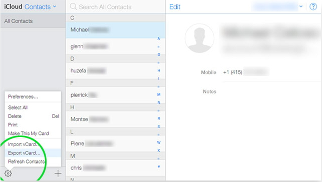 share all contacts via icloud