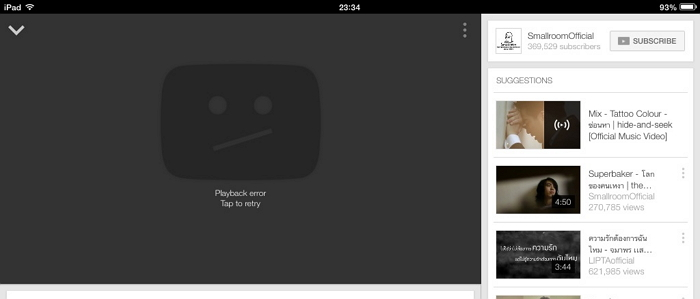 Youtube playback error tap to retry