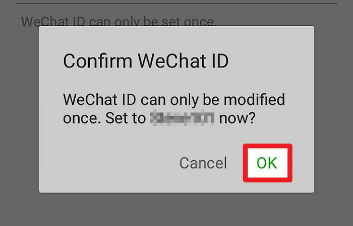 confirm changed wechat id