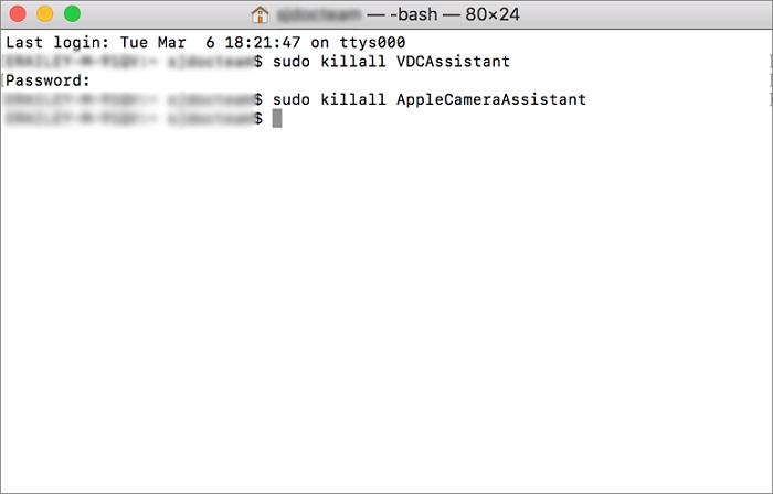 mac terminal end camera process