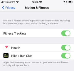 turn on motion and fitness tracking on iphone