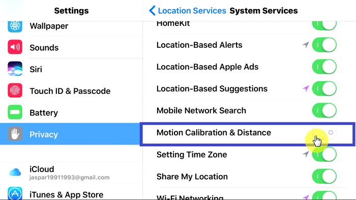 turn on motion calibration and distance on iphone