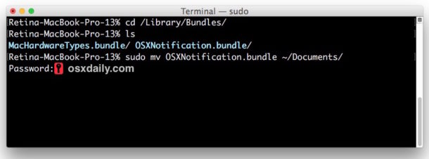 disable mac os notification