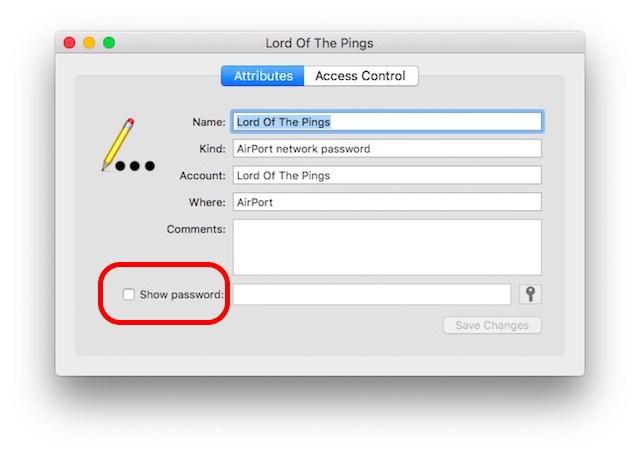show password checkbox