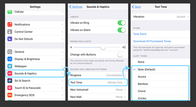 text tone settings on iphone