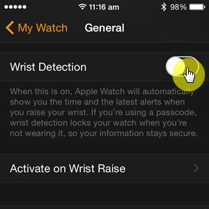 turn on wrist detection on watch app