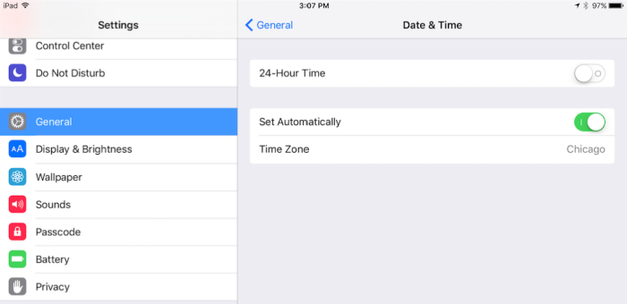 set data and time automatically ipad