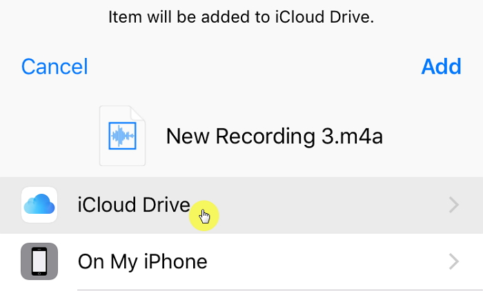 add voice memo to icloud drive