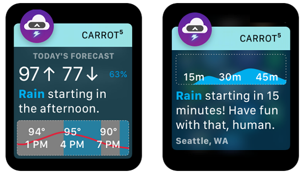 carrot weather apple watch app